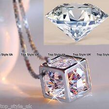 Crystal Diamond Cube Necklace Pendant - Couple Romantic Gift Present Valentine