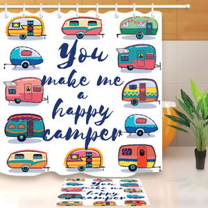 Funny-Camper-Car-Shower-Curtain-Liner-Bathroom-Set-Waterproof-Fabric-Mat-Hooks