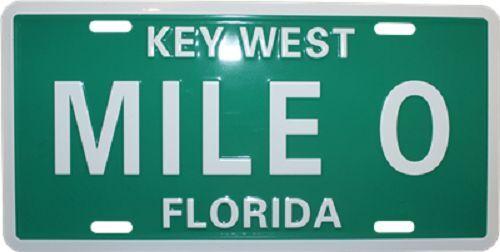 "Mile 0 Key West Florida Auto Car Tag License Plate 6/""x12/"" Aluminum Car Tag"