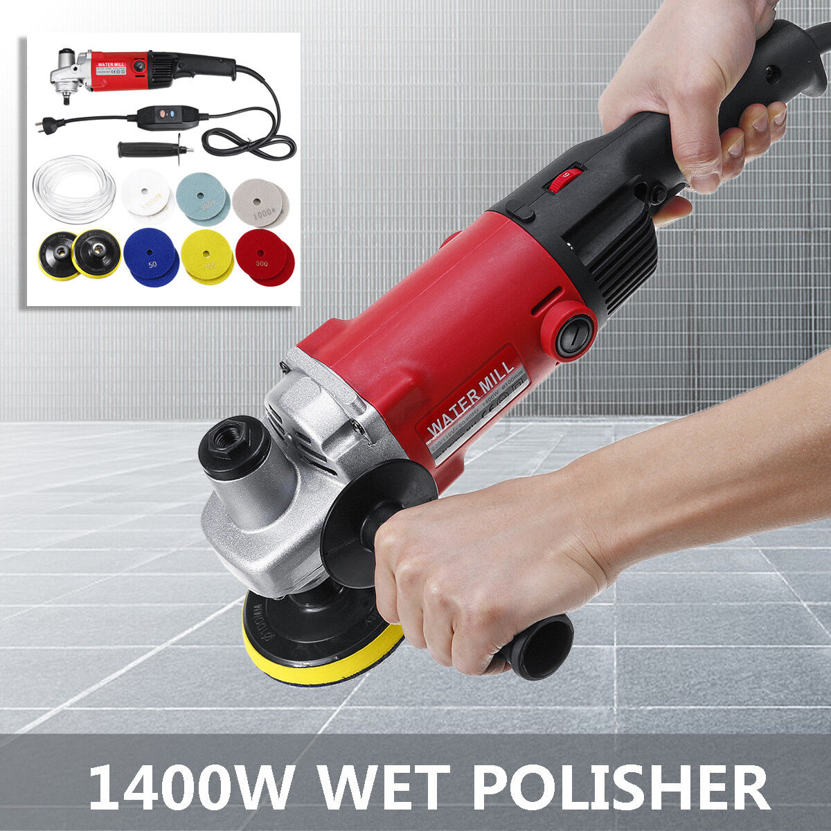 1400W WET Polisher Grinder Diamond Polishing pads KIT fr Concrete Marble
