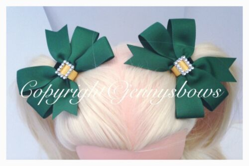 Hand Made School Bows Green And Yellow