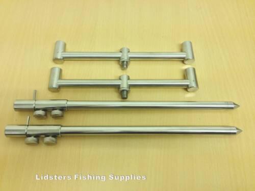 2 Stainless Steel 20cm Rod Buzz Bars 2 DSCREW 30-50CM Banksticks SOLID 2 ROD SET