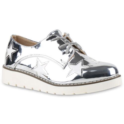 Damen Halbschuhe Plateauschuhe Brogues Lack Profilsohle 815092 Schuhe