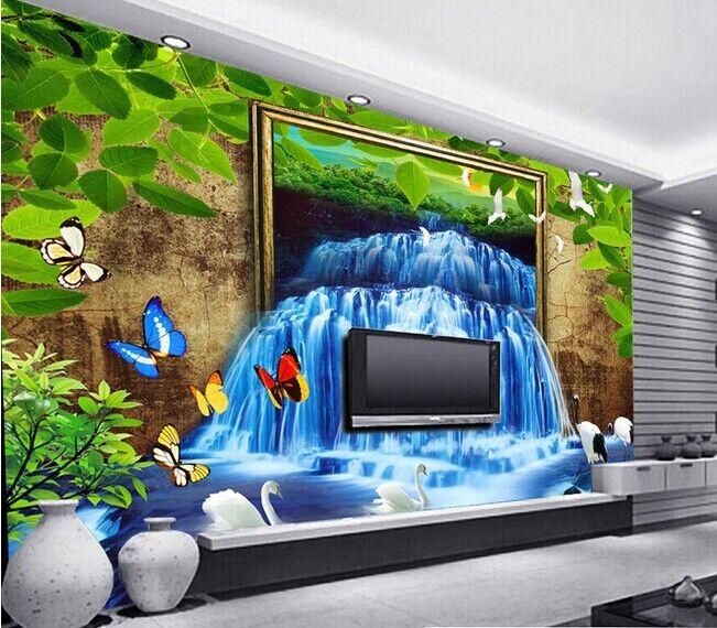 3D Schmetterling Wasserfall 84 Tapete Wandgemälde Tapete Tapeten Bild Familie DE