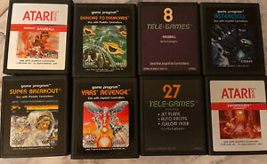 Lot of 8 Atari 2600 Games Catridges Assorted Vintage Asteroids, Year's Revenge