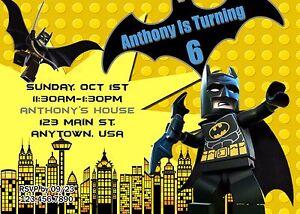 Batman Invitation Invitations Batman Lego Birthday Ebay