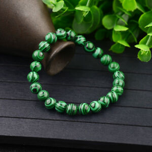 Handmade-Natural-6-8-10mm-Green-Malachite-Round-Gemstone-Beads-Stretch-Bracelets