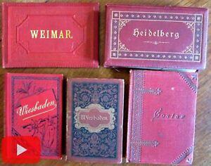 Germany 1880s Tourist photo books lot x 5 Wiesbaden Weimar Heidelberg 52 views
