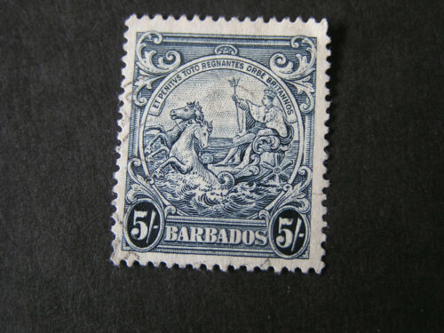 *BARBADOS, SCOTT # 201A, 5/- VALUE INDIGO 1941 DEFINITIVE COLONY SEAL USED