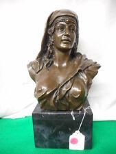 "J B Coyvaux Bronze Lady Bust European Bronze Finery Early Bronze 14"" Tall"