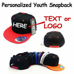 13b0a06c5fd Image is loading Personalized-Kids-Youth-Child-size-Snapback-Cap-Hat-