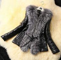 Women Lady Winter Warm Fur Collar Coat Faux Leather Cotton Jacket Overcoat Parka