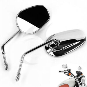 Pair 8mm Threaded Chrome Rear View Mirrors For Harley Road King Street Glide
