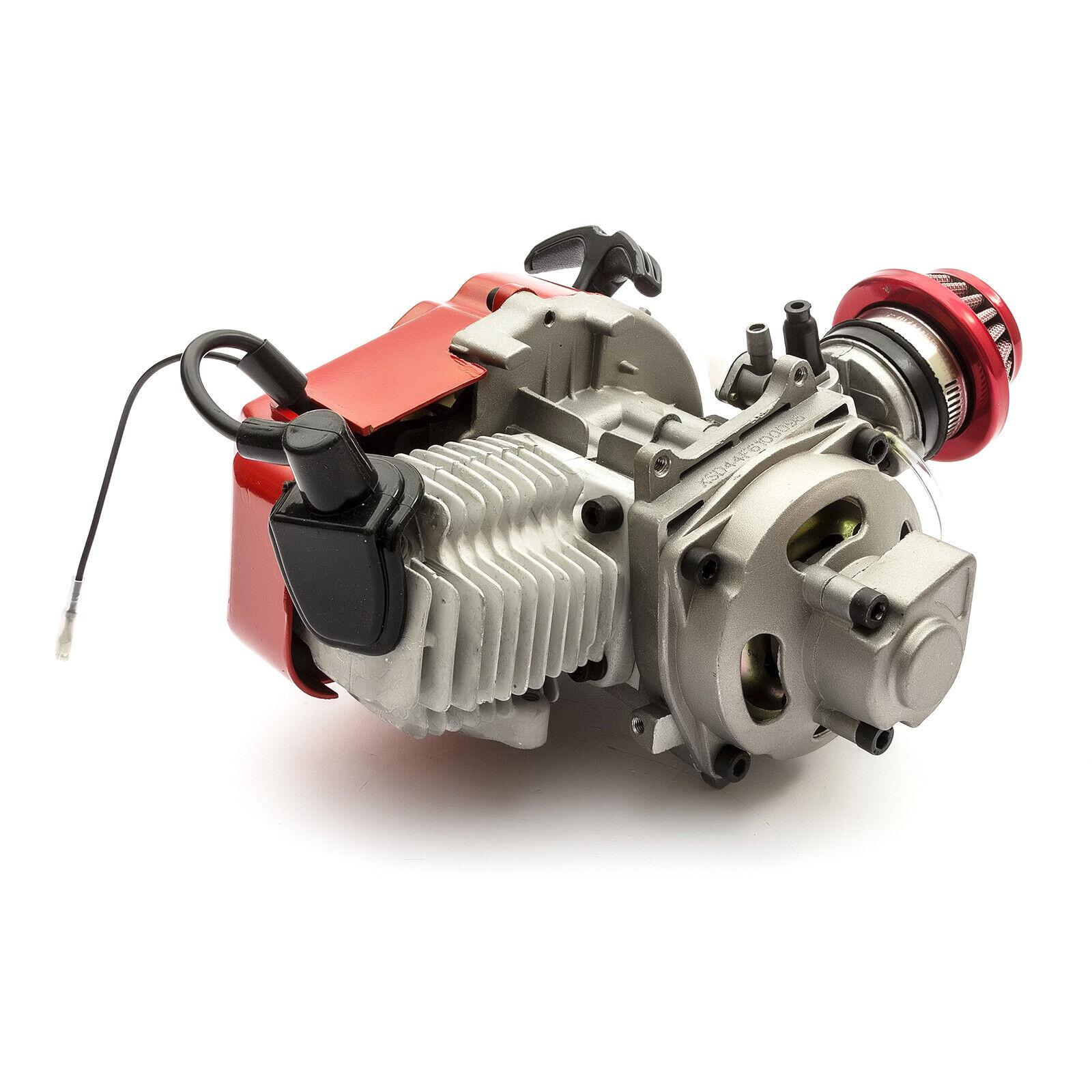 Mini Moto 49cc Motore Completo in Racing Rossa  Filtro Pignone Cover 6 Denti