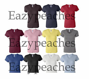 Bella-Ladies-NEW-Size-S-2XL-1-1-Rib-Short-Sleeve-V-Neck-T-Shirt-Womens-Tee-Top