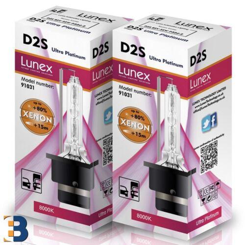 Genuine LUNEX 2 x D2S XENON BULB 35W Original 8000K Ultra Platinum P32d-2