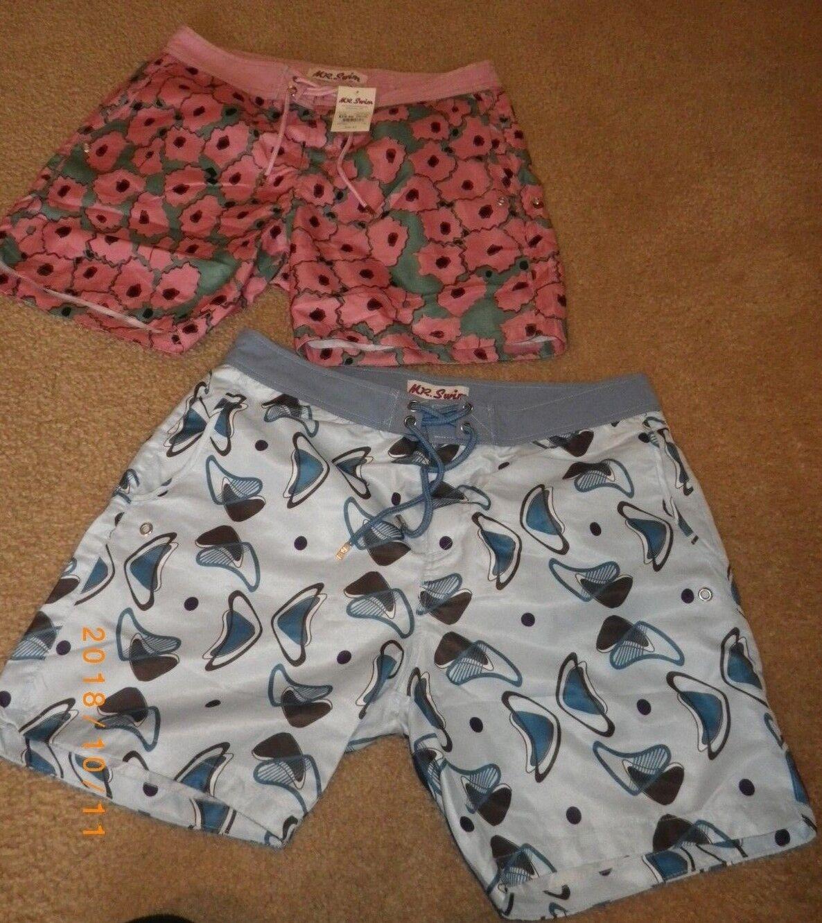 Lot of 2 Pairs of Mens Mr. Swim Swim Trunks Size 32 New Swimming Shorts Pink Geo
