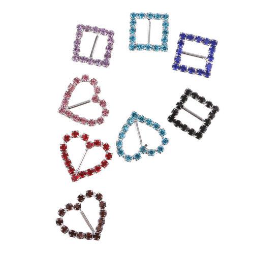 8x Square Heart Rhinestone Ribbon Buckles Sliders for DIY Hair Accessories