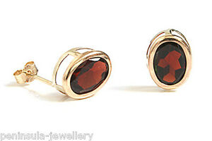 9ct-Gold-Garnet-Stud-Earrings-Made-in-UK-Gift-Boxed-Oval-studs-Christmas-Gift