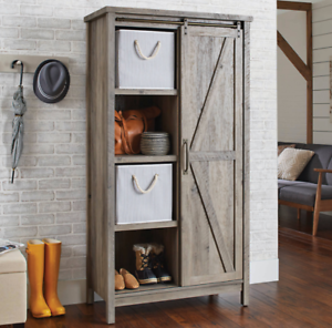 Large Storage Cabinet Rustic Farmhouse Kitchen Barn Door