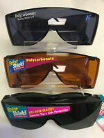 Solar Shields Polycarbonate Fits Over Glasses Amber, Gray Smoke, Green Gray