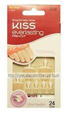 KISS EVERLASTING FRENCH 28 Glue-On Toenails TIMELESS Short WHITE TIP #53245 2/2