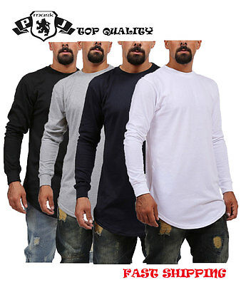 MEN'S HIPSTER BASIC LONG SLEEVE TEE WITH SIDE ZIPPER