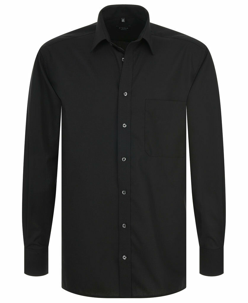 Eterna Comfort Fit Uni Popeline Langarmhemd Schwarz Gr. 40 bis 54
