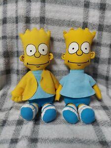 "Lot of 2 Vintage 11"" 1990 Bart Simpson Plush Dolls by Matt Groening"