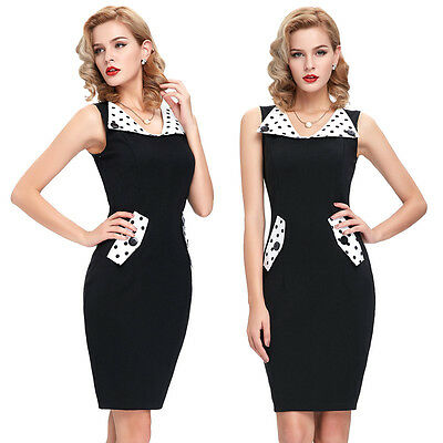 1950s Vintage Sexy Polka Dot Pinup Party OL Bodycon Pencil Dress Gown