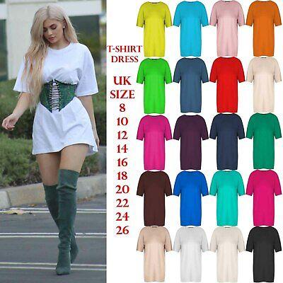 Capace Da Donna Con Manica Corta Tunica Oversize Baggy Loose Fit Mini Abito Pj T Shirt-mostra Il Titolo Originale Durevole In Uso