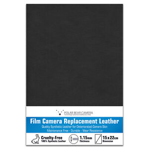 Camera Body Leather Replacement Sheet Synthetic 1.15mm Thick [BLACK] Restoration