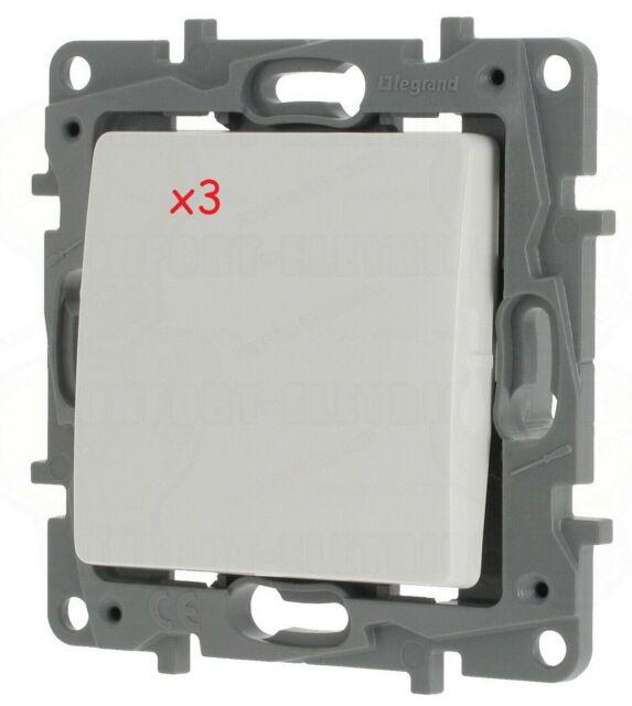 Legrand Niloé lot de 3 interrupteurs ou va et vient 10A 250 V~ blanc pur 664701