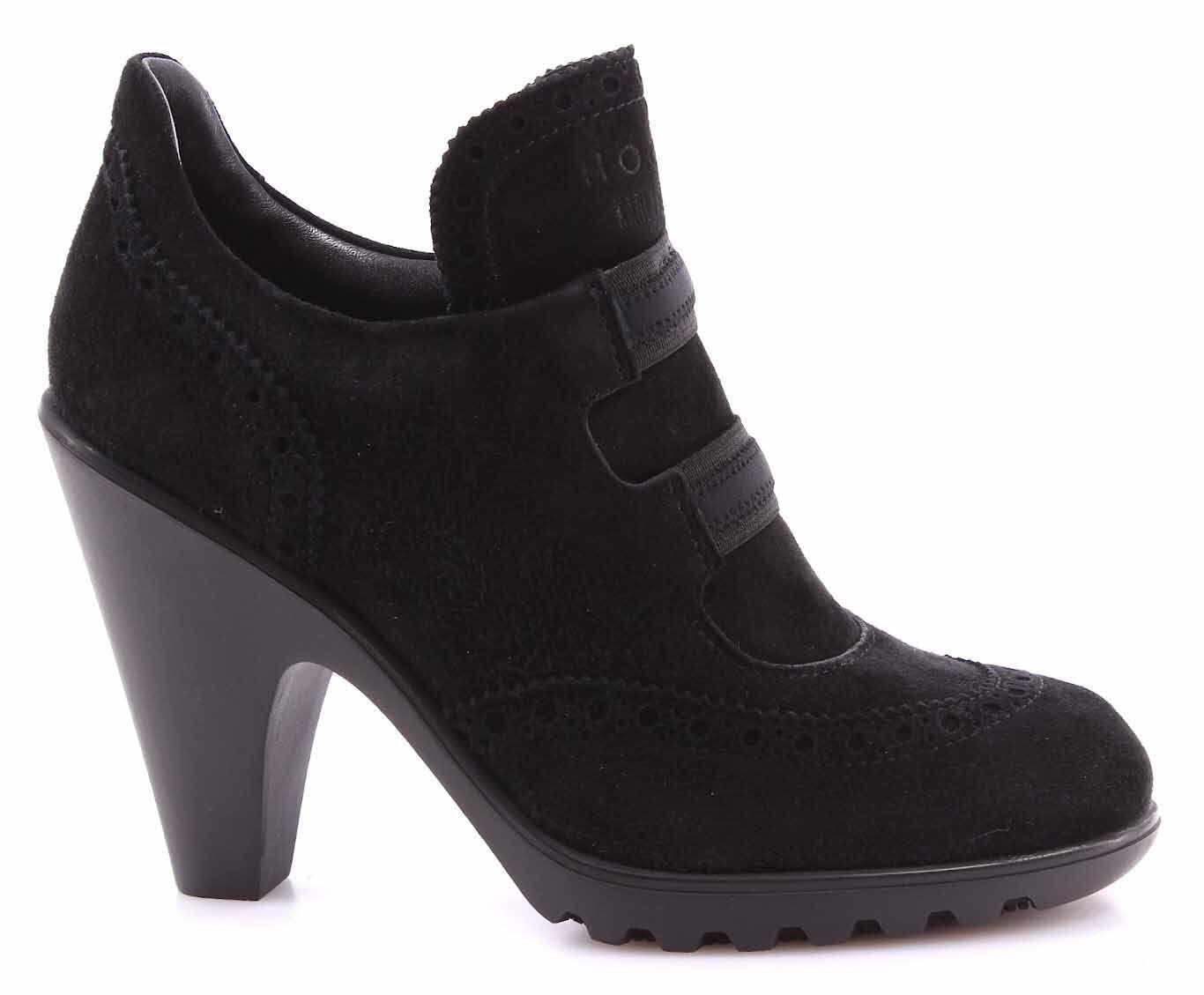 Damen Schuhe Brogues High Heel HOGAN BY KARL LAGERFELD Wildleder Schwarz Neue