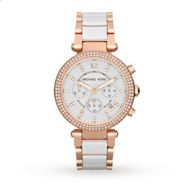BRAND NEW MICHAEL KORS MK5774 PARKER WHITE DIAL STRAP ROSE GOLD LADIES WATCH UK