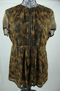 BNWT-Burberry-Brit-Silk-Cap-Sleeve-Dark-Leopard-Print-Blouse-Sz-M-100-Authentic