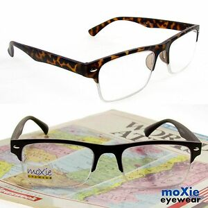 Houston-READING-GLASSES-Men-Semi-Rimless-READERS-FLEXIBLE-QUALITY-TR90-frame