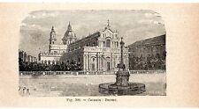 Stampa antica CATANIA veduta Cattedrale di Sant'Agata Sicilia 1910 Old print