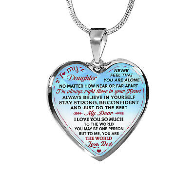 Sliver Heart Pendant ZEN DEAL to My Daughter I Believe in You Luxury Heart Shape Necklace Gift for Daughter