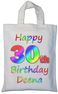 Image Is Loading PERSONALISED 30th BIRTHDAY COTTON GIFT BAG Present