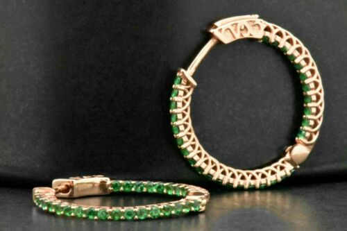 1.25Ct Round cut  Emerald 14k Rose Gold Over Women/'s Hoop Earrings For Gift