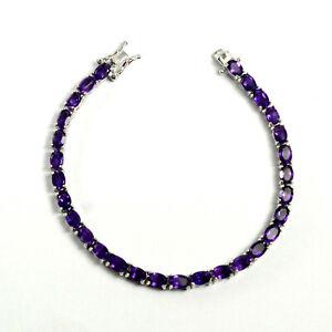 925-Sterling-Silver-Natural-Gemstone-6x4mm-Oval-Purple-Amethyst-Tennis-Bracelet