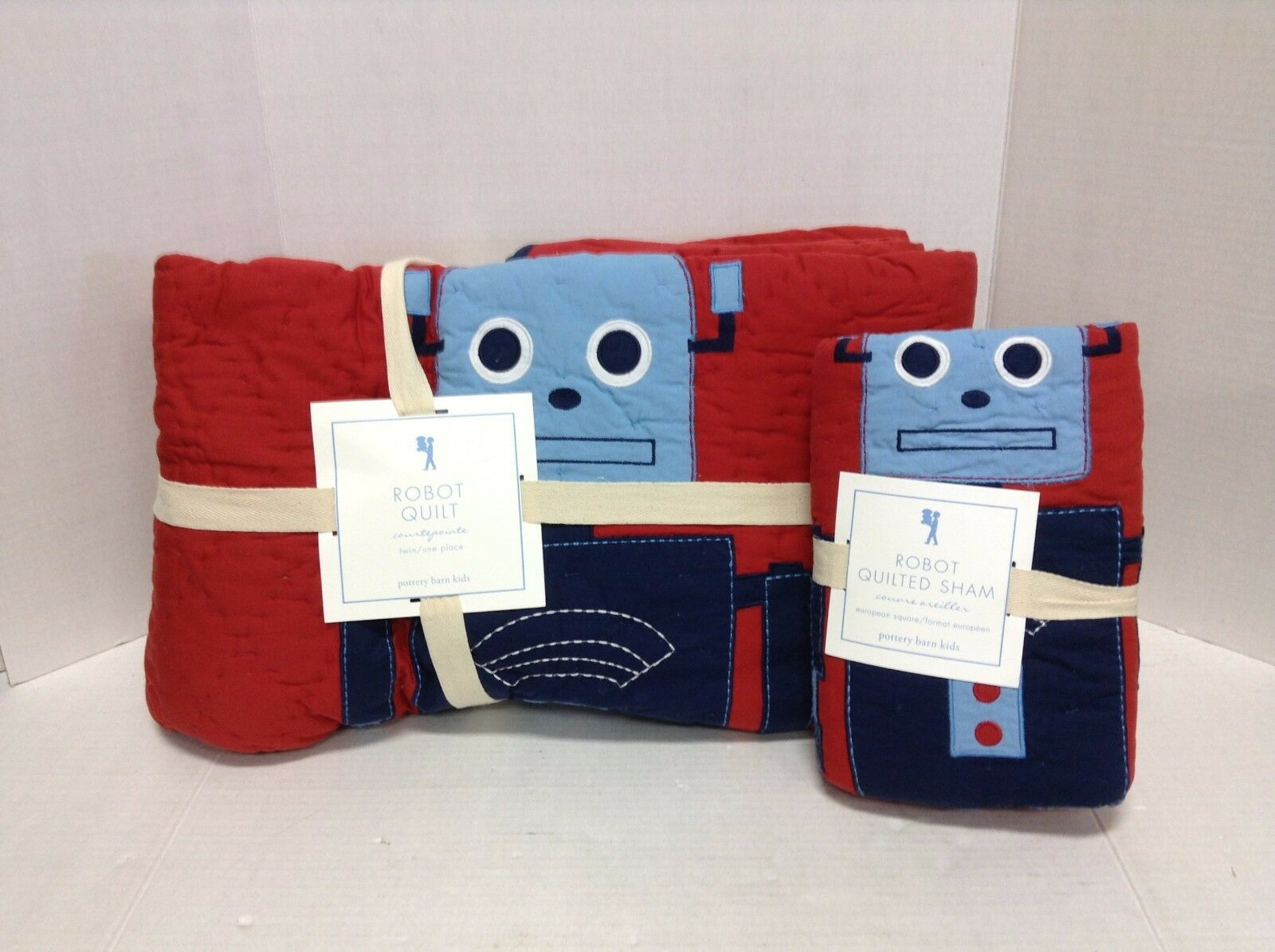 Pottery Barn Kids Retro Robot Applique Embroidered Quilt Twin Euro Shams Red