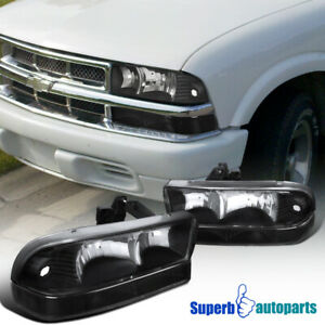 For 1998 2004 Chevy S10 Pickup Blazer Black Headlights W Signal Bumper Lights Ebay