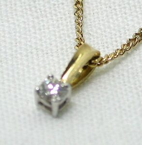 Dainty 18 carat Gold 10 Point Diamond Solitaire Pendant And Chain