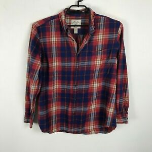 St-John-039-s-Bay-Flannel-Shirt-Plaid-Mens-Size-L-Red-Multicolor-Long-Sleeve-Cotton