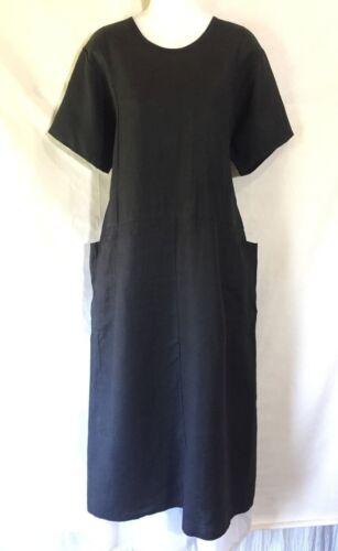 klein zwart Jeanne lange Boxy tuniek jurk linnen pullover Eenvoudige Vlas door Engelhart cjLA34q5R