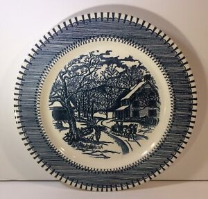Country-Life-Currier-amp-Ives-Print-By-Knowles-10-034-Blue-Plate-Vintage-Dish