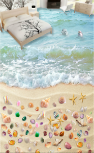 3D colord Beach 53 Floor WallPaper Murals Wall Print 5D AJ WALLPAPER UK Lemon