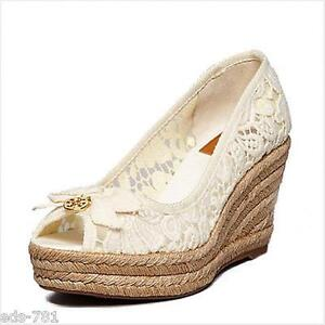 bf3cd1a23944 NIB Tory Burch Jackie Lace Espadrille Wedges Shoes WHITE 10 M 75 mm ...